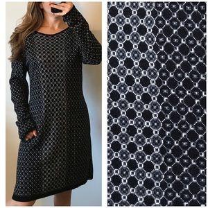 CYNTHIA ROWLEY Knit Long Sleeve Geometric Dress XL
